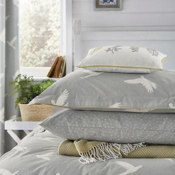 Paper Doves Oxford pillowcase, L48 x W74cm, mineral grey