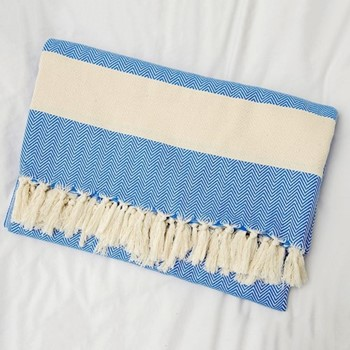 Herringbone Blanket, 200 x 240cm, blue