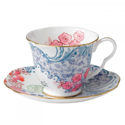Harlequin Collection - Butterfly Bloom Teacup and saucer, Blue And Pink