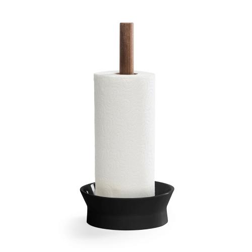 Angle Kitchen holder, 17 x 17 x 15cm, matt black/walnut