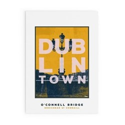 Dublin Town Collection - O'Connell Bridge Framed print, A4 size, multicoloured