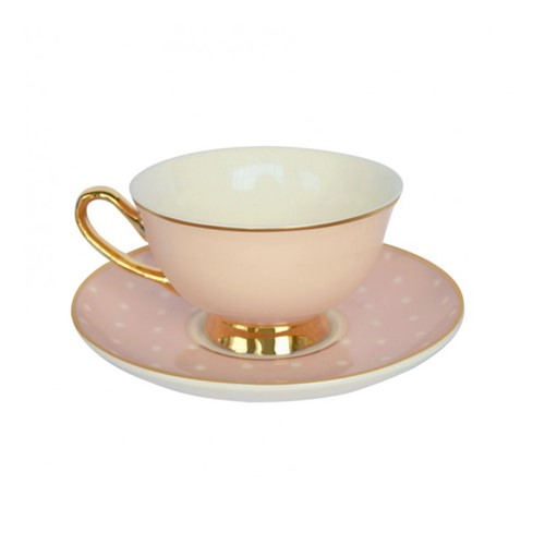 Spotty Teacups and saucer, H6x Dia15cm, Pink/White