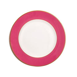 In Colour Dinner plate, 27cm, Crisp White With Raspberry Pink Border