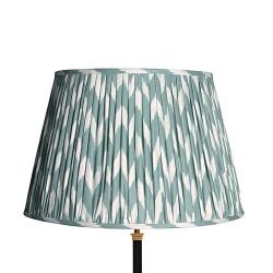 Straight Empire Ikat printed lampshade, 45cm, Eau De Nil Zig-Zag Linen