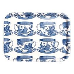 Teacup Small tray, 27 x 20cm, birch veneer/delft blue
