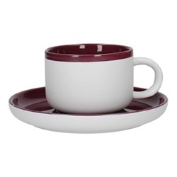 Barcelona Teacup and saucer, 290ml, plum