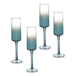 Atrium Set of 4 champagne flutes, 24cl, green
