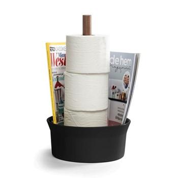 Angle Bath holder, 14 x 14 x 39cm, matt black/walnut