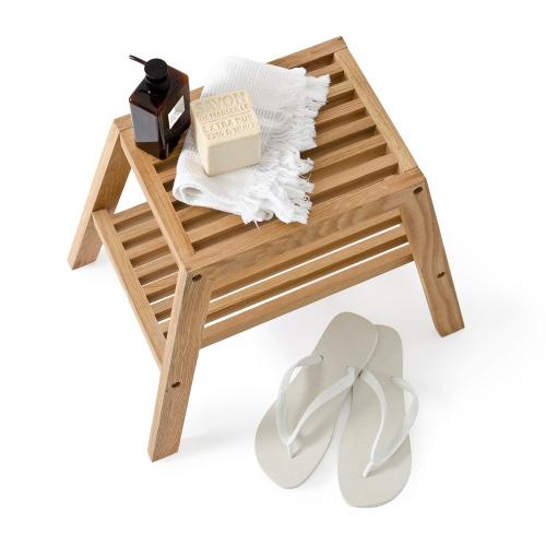 Slatted stool, H42 x W50.5 x D35.4cm, Oak