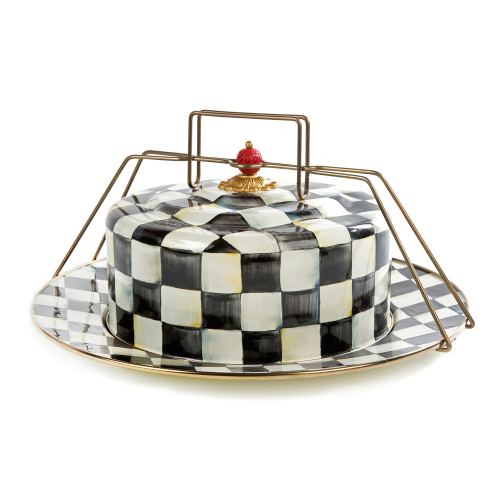 Courtly Check Cake carrier, 41 x 18cm, Enamel