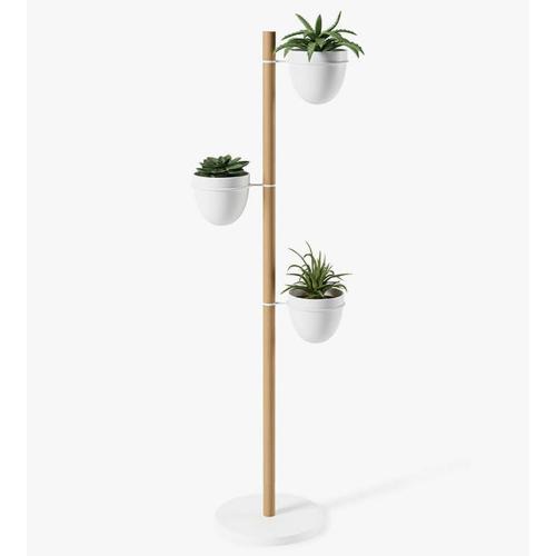 Floristand Planter, H140 x W44 x D44cm, White/Natural