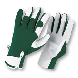 Leather palm gloves, large, green