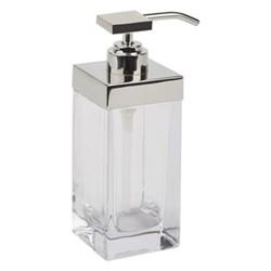 Castor Soap dispenser, L6.6 x W6.6 x H17.5cm, glass nickle
