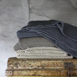 Moss Stitch Cotton throw, 125 x 180cm, Stone