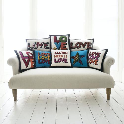 All You Need Is Love Cushion, 46 x 46cm, Cream