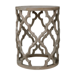 Fontana Round side table, 45 x 60cm, lattice pattern in recycled elm