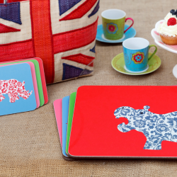 African Animals Set of 4 square coasters, 10 x 10cm