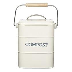 Living Nostalgia Steel compost bin, 3 Litre, cream