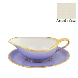 Sous le Soleil Sauce boat and stand, Ivory With Classic Matt Gold Band