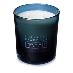 Bosk & Herb Garden 2 wick candle, H10 x W9cm, blue