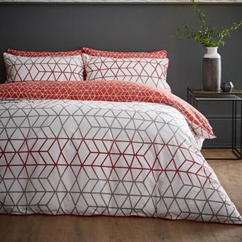 Linear Single quilt set, 135 x 200cm, terracotta