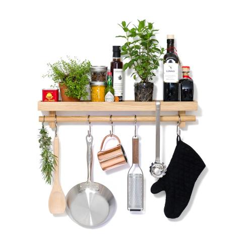 Cookhouse Utensils rail shelf, H10.5 x W61 x D10cm, Natural Oak