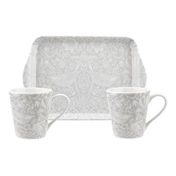 Pure Morris Mug and tray set, grey/white