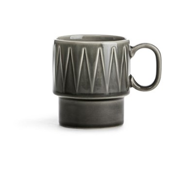 Coffee & More Stackable mug with handle, 25cl, grey