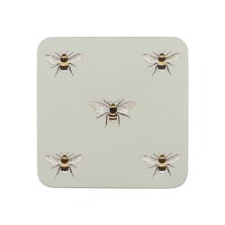 Bees Set of 4 coasters, 10.5 x 10.5cm