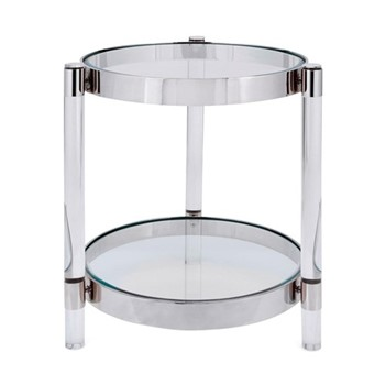 Sachs Side table, H55 x D50cm, silver