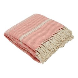 Oxford Stripe Throw, L230 x W130cm, coral
