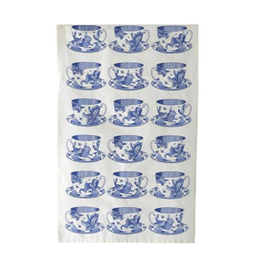 Teacup Tea towel, 50 x 70cm, white/delft blue