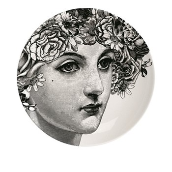 Flower Lady Plate, Dia20cm, black/white