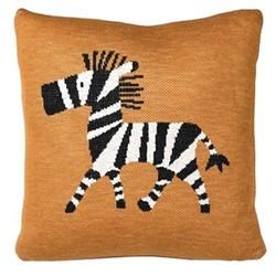 Zebra Cotton cushion, L45 x W45cm, mustard