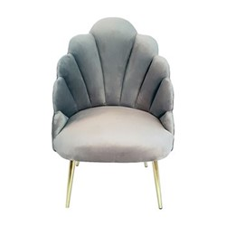 Chelsea Tulip Chair, H95 x L65 x D65cm, silver grey velvet with gold metal legs