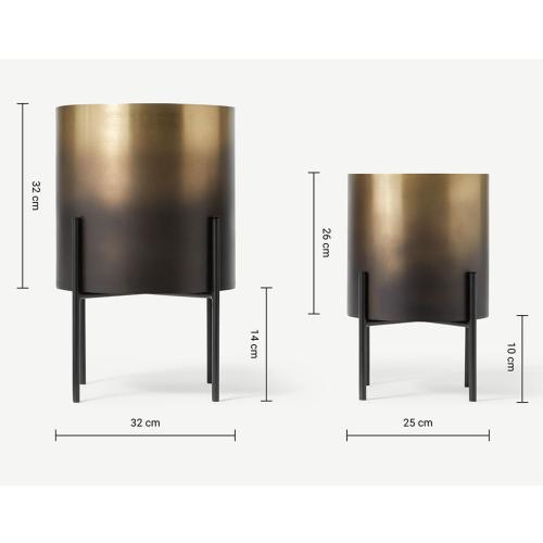 Valletta Set of 2 standing planters, H47/35 x W28/36cm, Brass & Black