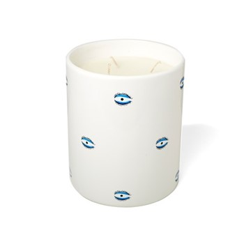 Eye Large candle, H18 x D15cm, white and blue