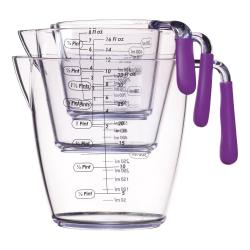 3 piece measuring jug set, Purple