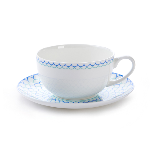 Ripple Cappuccino cup and saucer, H7.5 x D11cm, Blue/Turquoise