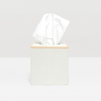 Manchester Tissue box, H14cm, snow faux shagreen
