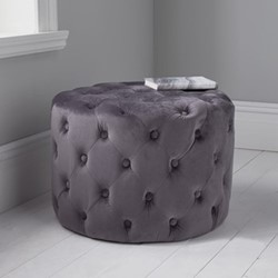Tufted velvet stool, L60 x W60 x D42cm, grey