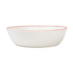 Abbesses Set of 4 pasta bowls, 17.2 x 4.5cm, red rim