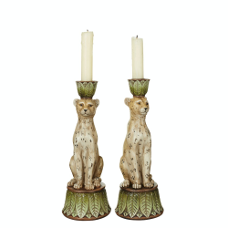 Lakadema Pair of candleholders, D9 x H25cm, Painted Resin