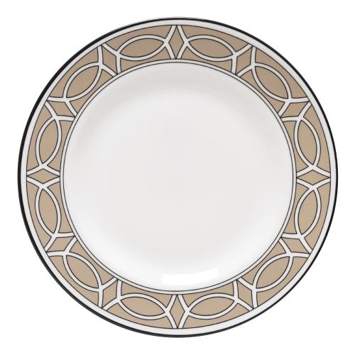 Loop Teaplate, 16.5cm, Truffle/White (Black Rim)