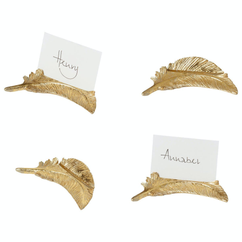 Feather Set of 4 name card holders, H12 x W6cm, Gold