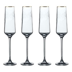 Henry Cole Set of 4 champagne flutes, H27 x W13 x L13cm, metallic grey