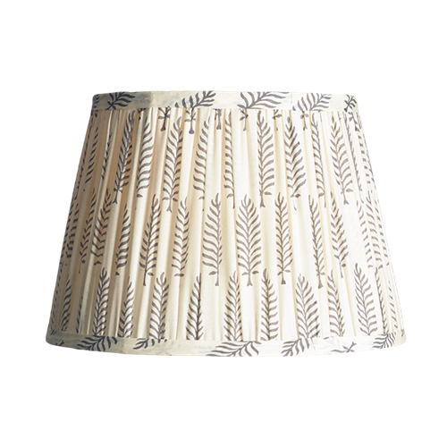 Straight Empire Block printed lampshade, 30cm, grey ferns cotton