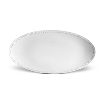 Corde Small oval platter, 36 x 18cm, white