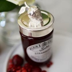 Strawberry Jam jar lid, Silver Plate