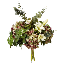 Faux easter lily, anemone, hydrangea and eucalyptus bunch, H66 x L56 x W56cm, Multi